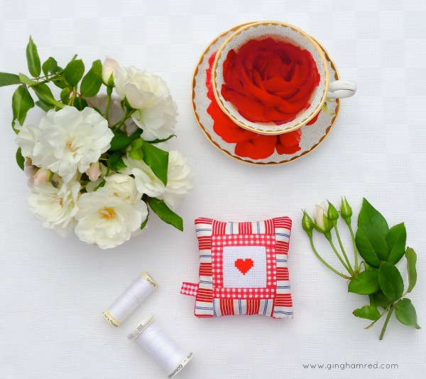 red heart pincushion